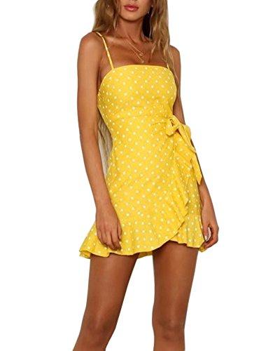 (YiKeZhiXiu Women's Summer Floral Print Backless Spaghetti Strap Mini Beach Dress with Lining)
