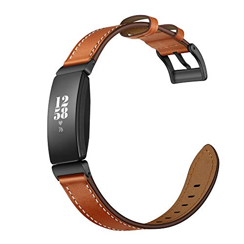 - Elobeth Leather Band Compatible with Fitbit Inspire & Inspire HR Band Genuine Leather Wrap Strap Replacement for Fitbit Inspire & Inspire HR Fitness Tracker Bands(Brown)