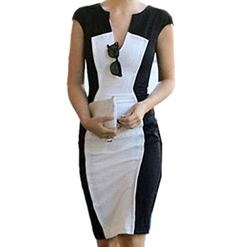 eck Pencil dress Career Splicing Color block Fit Slim Dress(J276)- Medium (White Career Dress)