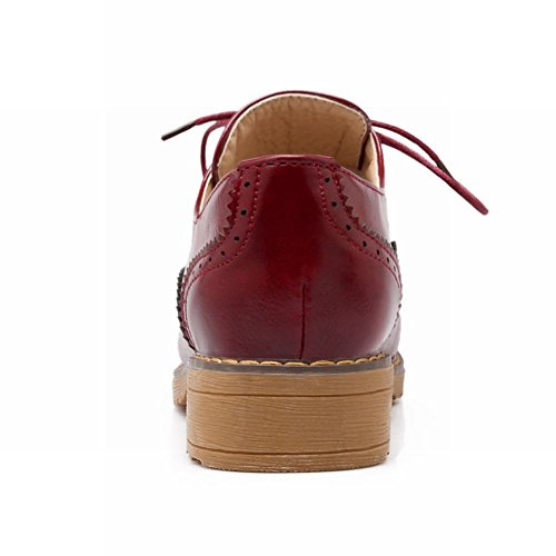 Carol Shoes Womens Comfort Lace-up Casual Pattern Pattern Chunky Tacco Basso Oxford Scarpe Vino Rosso