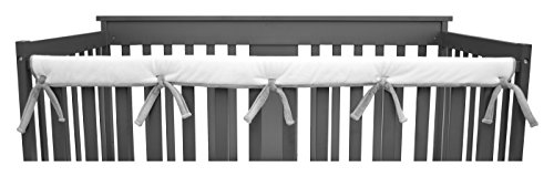 (American Baby Company 1 Pack Heavenly Soft Narrow Reversible Crib Rail Cover for Long Rail, Gray/White, for Rails Measuring up to 4