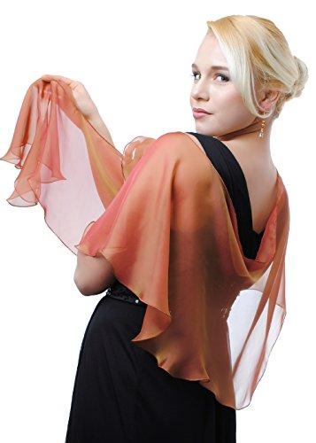 Amber - Cranberry Silk Chiffon Fluttering Scarf Shawl Wrap by Lena Moro