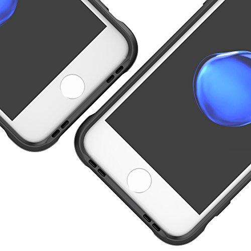 iphone 8 custodia + pellicola prottetiva , iphone 8 cover Morbido TPU Custodia Paraurti in TPU Morbida Protettiva Case Cover Custodia Silicone Ultra Slim apple nero