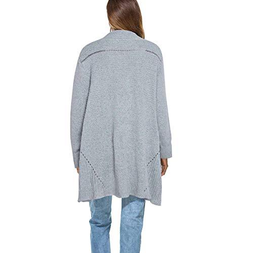 del punto mujeres hecha delantera las dobladillo irregular tamaño Color manga de Rebeca larga Grey punto abierta de ZFFde Talla única Invierno la de qWwXpTcY