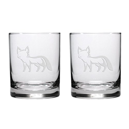 Fox Etched Whisky Glass - Set of (Fox Highball Glass)
