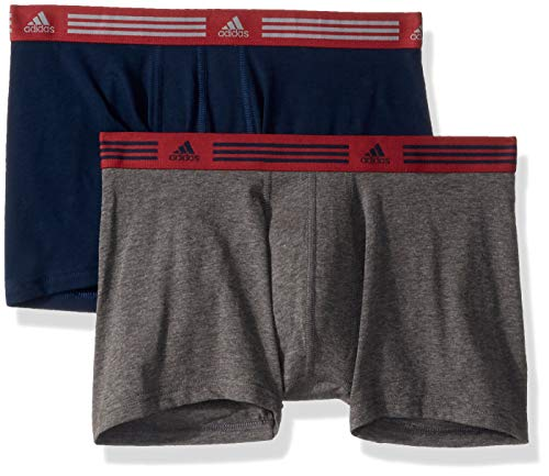 adidas Mens Athletic Stretch Trunk Underwear (2-Pack), collegiate navy/Noble maroon heather/dark grey, Medium