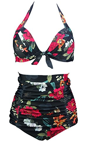 Bow Large Floral Ships (COCOSHIP Sparrow & Red Lightcyan Floral Print Halter High Waisted Two Piece Bikini Bow Front Vintage Bathing Suit XXXL(FBA))