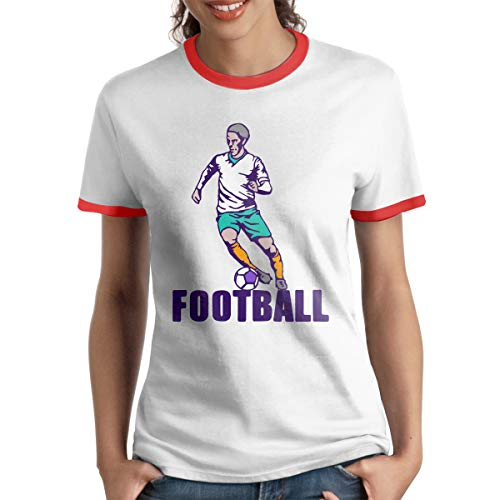 Wengua Designed T Shirt Women's HumorFootball Sport O-Neck Ringer Tee T-Shirts Red