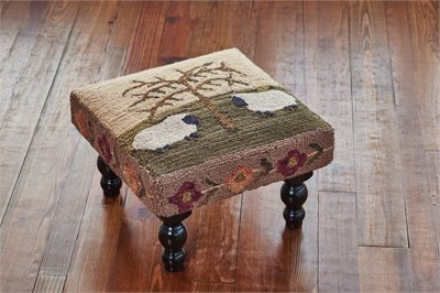 Willow And Sheep Hooked Stool, Park Designs