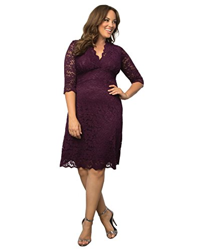 Kiyonna Women's Plus Size Scalloped Boudoir Lace Dress 0X Plum Lace Plum Lining by Kiyonna Clothing