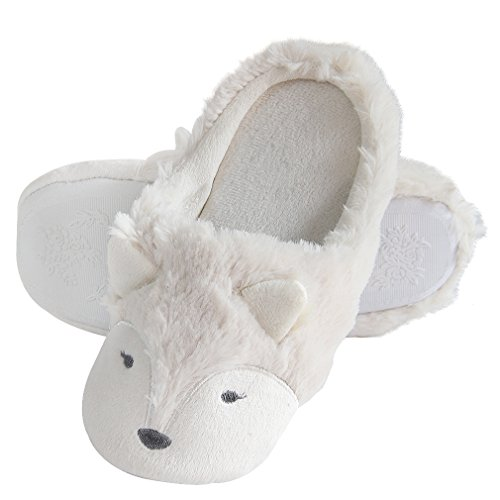 Fox Fleece Bootie Slippers | Wool Plush Indoor/Outdoor Slippers | Furry Winter Boot Home Slippers | Womens Anti-Slip Bootie (5-6, White -