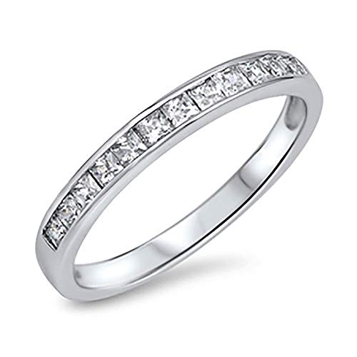 : Double Accent Sterling Silver Wedding Ring Princess Cut Channel Set Wedding Band 3MM (Size 5 to 12)
