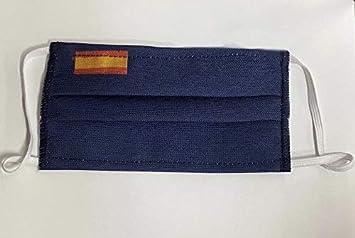 Mascarilla protectora tela 3 capas azul bandera de España: Amazon.es: Salud y cuidado personal