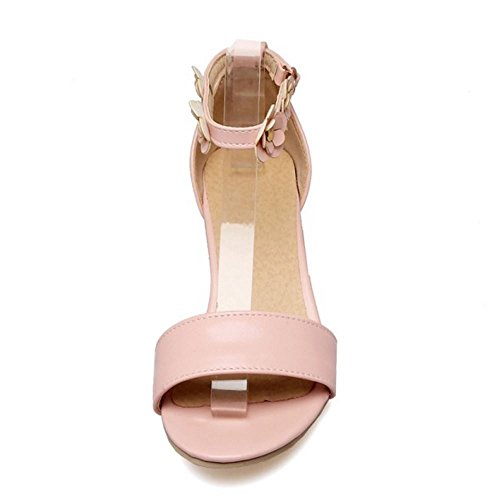 Sandals Shoes Flowers Pink Fashion Block Strap COOLCEPT Ankle Women Heel Toe Open wzxvqW7ISP