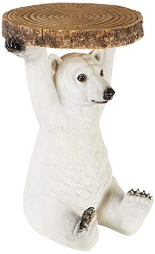 Kare Design Mesa Animal Orso Polare, 53 x 37 x 37 cm, Polyresine, Blanco