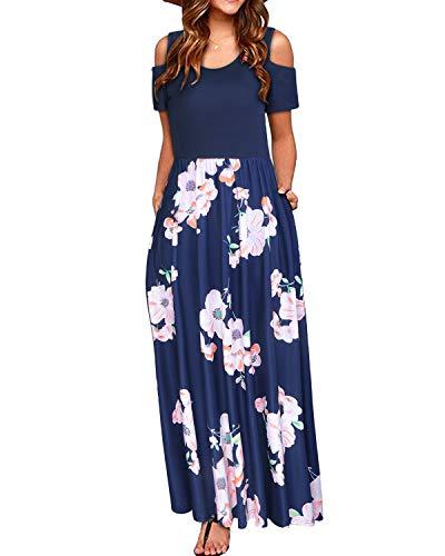 STYLEWORD Women's Summer Cold Shoulder Floral Print Elegant Maxi Long Dress with Pocket(Floral07,XL)