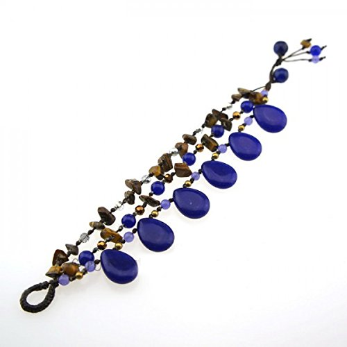 Teardrop Stone Cotton Wax Bracelet (Blue)
