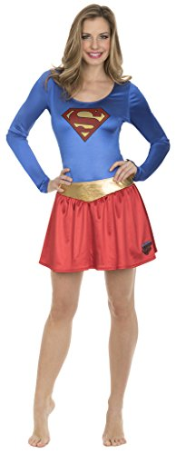 DC Comics Superman Bodysuit and Skirt Costume Set (Adult X-Large) Blue/Red