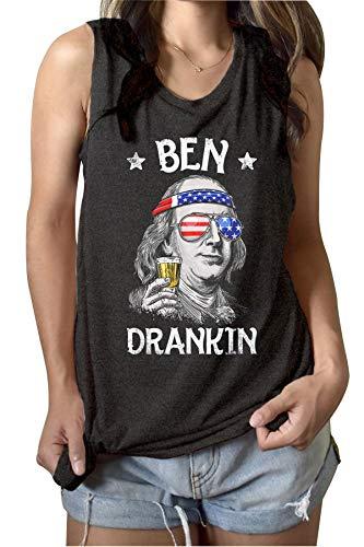 4th of July Shirts Ben Drankin Funny Benjamin Franklin Graphic Tank Top Summer America Drinking Sleeveless Tees (S, Grey)