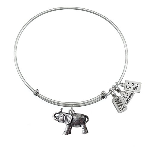 [Wind & Fire Two-Tone Brass 3D Elephant Charm Bangle Bracelet, Adjustable 6.5