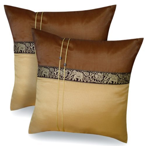 (DOUBLE) 2 BEAUTIFUL ELEPHANT THROW CUSHION COVER/PILLOW CASE BROWN & GOLD HANDMADE BY THAI SILK AND COTTON FOR DECORATIVE SOFA, CAR AND LIVING ROOM SIZE 16 X 16 INCHES Product ty by Jatujak market