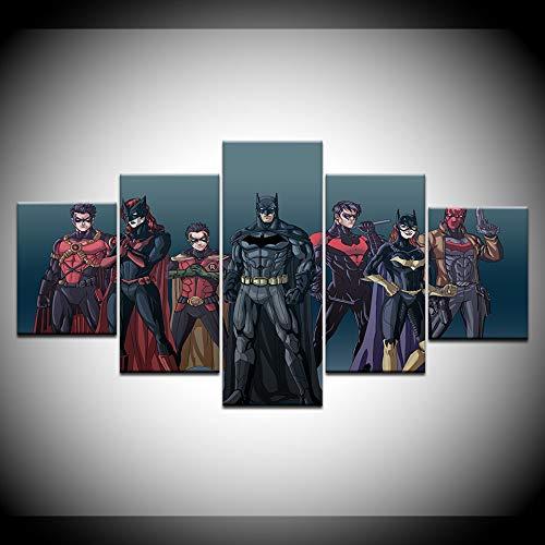 lzmlzm 5 Canvas Paintings Justice League Hero Big Bat Superman Movie Manga 5 Panel Frame Canvas Painting Print Home Art Deco Wallpaper Poster]()