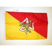 AZ FLAG Sicily Flag 18'' x 12'' Cords - Italy - Sicilian Small Flags 30 x 45cm - Banner 18x12 in