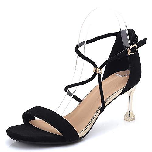 Cheville Hauts Talon Sandales Ruiren Femmes Dames Noir Chaussures Talons Ouvert Chaton pour EftItwxqY
