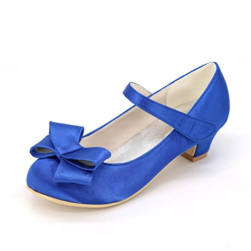 Heels Toe Comfort Closed Dress Shoes Blue Flats Pointed Girls' High Casual ZqWwStnffF