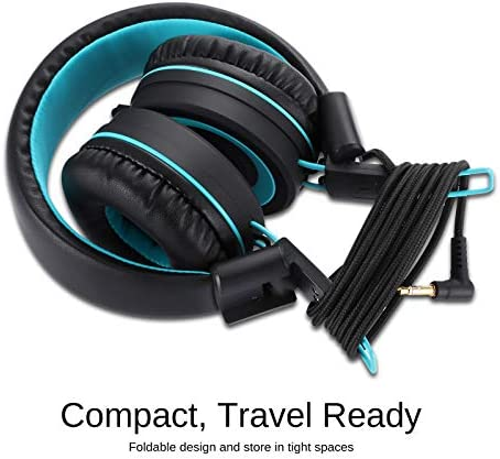 Kids Headphones-Noot Products K11 Foldable Stereo Tangle-Free 5ft Long Cord 3.5mm Jack Plug in Wired On-Ear Headset for iPad/Amazon Kindle,Fire/Boys/Girls/School/Laptop/Travel/Plane/Tablet (Black)
