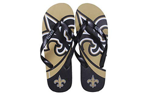 NOSBLG2-3 – New Orleans Saints- Large – Officially Licensed NFL Big Logo Flip Flops – Happy Feet and Comfy Feet – DiZiSports Store