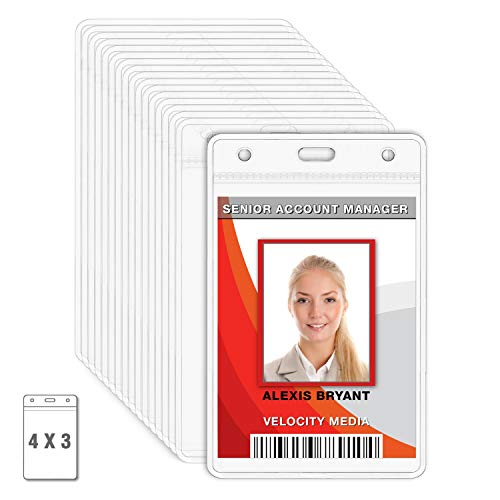 MIFFLIN Plastic Card Holder Vertical 4x3 Inch Quick Load No Zipper Name ID Badge Clear Bulk 100 Pack -
