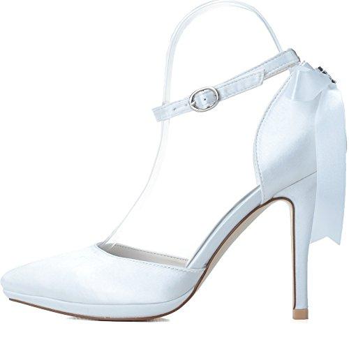 Loslandifen Mujeres Pionted Toe Satén Tobillo Correa Cinta Bow High Heels Zapatos De Boda Blanco