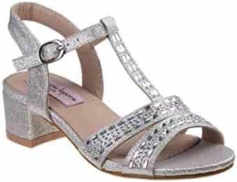 68a36d20d0007 Nanette Lepore Girls Silver Glitter T-Bar Low Block Heel Sandals 11-4 Kids