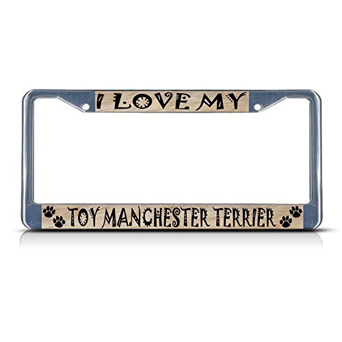 YEX Toy Manchester Terrier Dog PET Metal License Plate Frame Aluminum Frame Tag Holder 12