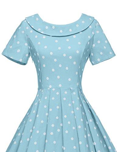 Blue Dresses Women's Audrey Hepburn 1950s Party Dot Dresses Style GownTown Vintage Light Polka qfUO7qwa