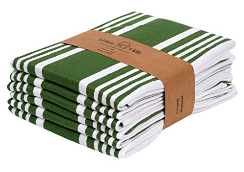 Urban Villa Kitchen Towels,Trendy Stripes, 100% Cotton Dish Towels, Mitered Corners, (Size: 20X30 Inch), Olive Green/White Highly Absorbent Bar Towels & Tea Towels - (Set of 6) (Towels Tea Patterns Christmas)