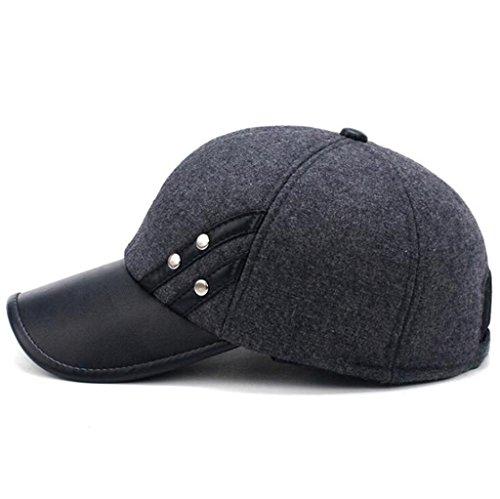 Invierno Cap pu del de cuero Black Otoño ZHAS proteger Moda Hombre Hat sombrero gruesas el bolsas oído 1PxpEnEH