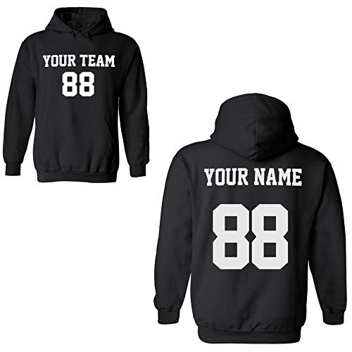 Desing Your OWN Hoodie for Men & Women - Custom Jersey Hoodies - Pullover Team Sweatshirts Black