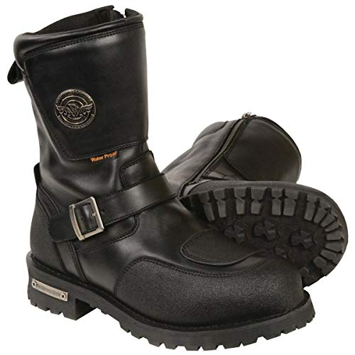 Milwaukee Leather MBM9071WP Men's 9in Wide Width Waterproof Leather Boots with Reflective Piping & Gear Shift Protection - 10 ()