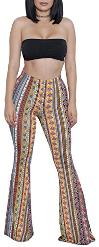 ZIKKER Women's Two-Piece Romper Sexy Tie Dye Print Bandeau Top Flared Bell Bottom Pants Jumpsuits Outfits A Boho Large ()