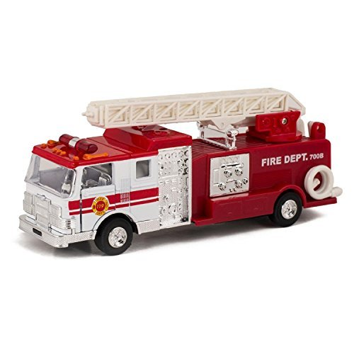 Master Toy Children's Collectible Die-Cast Metal Pull-Back Action & Sound Fire Engine Truck with Ladder, Red (Metal Toy Fire Truck)