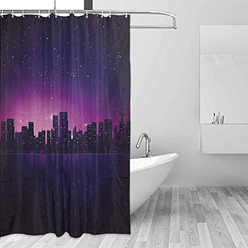 (Xlcsomf Sliding Shower Curtain Night City Skyline Silhouette Skyscrapers Abstract Graphic Architecture Urban Life Draped Design Indigo Pale Pink,W60 xL72)