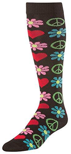 TCK Sports Krazisox Love Peace Flowers Woodstock Socks, Black, Medium - Peace Stocking
