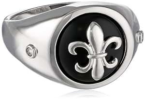 Men's Sterling Silver Onyx Fleur-de-lis Ring, Size 9