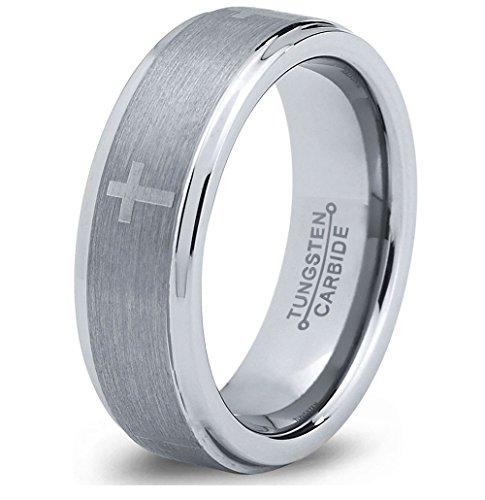 Tungsten Wedding Band Ring 8mm 6mm for Men Women Comfort Fit Christian Cross Beveled Edge Cut Polished FREE Custom Laser Engraving Lifetime Guarantee ()