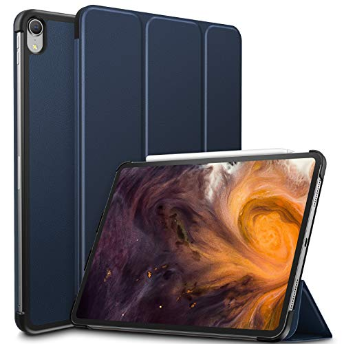 Infiland iPad Pro 11 Case,Tri-Fold Shell Case Compatible with iPad Pro 11 Inch 2018 Release (Support 2nd Gen Apple Pencil Wireless Charging, Auto Wake/Sleep), Navy