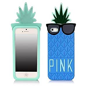 iphone covers Pineapple Cartoon Silica Gel Back Cover for Iphone 5c Blue