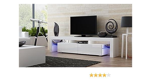 MILANO Mueble TV - Moderna mesa TV con estantes de cristal e iluminación LED: Amazon.es: Electrónica