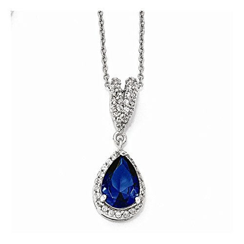 ing Silver Cubic Zirconia Cz Lab Created Dark Blue Spinel Pear Shaped Chain Necklace Pendant Charm Fine Jewelry Ideal Gifts For Women Gift Set From Heart ()